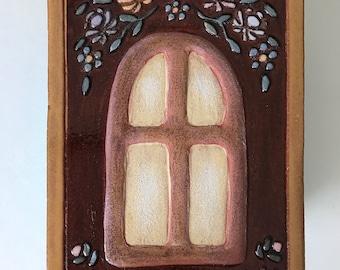 "Handmade Ceramic Art Tile: The Window, 6""x4"""