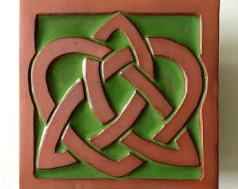 """Handmade Ceramic Celtic Heart Art Tile, 4""""x4"""""""