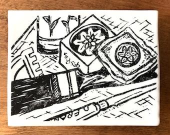 "Tile Maker's Desk: Screen-printed Ceramic Tile, 6""x 5"""