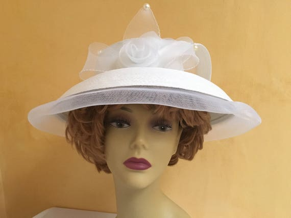 Vintage White Large Brim Bridal Hat Wedding Accessory  10179db133e8