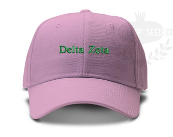 6d5addd4 Delta Zeta Small Serif Font Sorority Low Profile Unstructured Baseball Cap  - Custom Color Hat and Embroidery