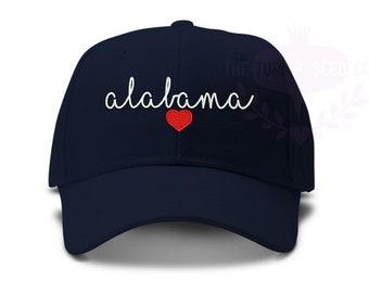 f453f263c77a8f Alabama Love Baseball Cap - Love My Home State - Handwriting Script with  Heart Hat Design