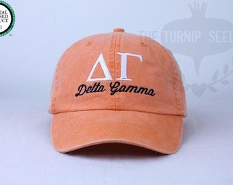 Delta Gamma Sorority Baseball Cap Custom Color Hat and Embroidery.