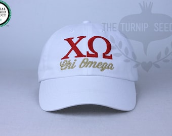 3c000659192a7 Chi Omega Sorority Baseball Cap - Custom Color Hat and Embroidery.