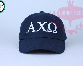 c747b414c5201 Alpha Chi Omega Greek Only Sorority Baseball Cap - Custom Color Hat and  Embroidery.