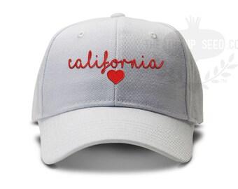 465bf64efa6334 California Love Baseball Cap - Love My Home State - Handwriting Script with  Heart Hat Design
