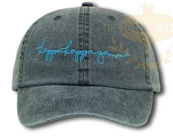 2bc67377e55 Kappa Kappa Gamma Handwriting Script Sorority Baseball Cap - Custom Color  Hat and Embroidery