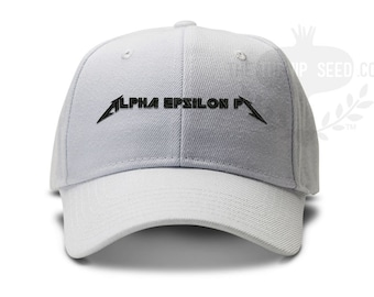7492ed981ee Alpha Epsilon Pi Heavy Metal Rocker Font Fraternity Baseball Cap - Custom  Color Hat and Embroidery