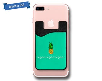 Sigma Sigma Sigma Pineapple Phone Caddy - Sticker Pocket Wallet - Personalized Cell Phone Pocket PC1030