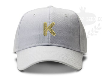 Single Initial Cross Stitch Monogram Baseball Cap - Custom Color Hat and Embroidery.