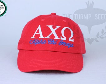Alpha Chi Omega Sorority Baseball Cap - Custom Color Hat and Embroidery.