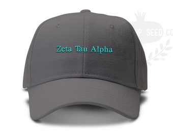 Zeta Tau Alpha Small Serif Font Sorority Low Profile Unstructured Baseball Cap - Custom Color Hat and Embroidery
