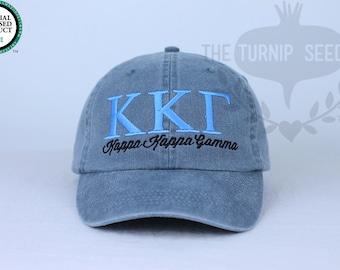 Kappa Kappa Gamma Sorority Baseball Cap - Custom Color Hat and Embroidery.