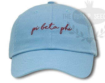 Pi Beta Phi Handwriting Script Sorority Baseball Cap - Custom Color Hat and Embroidery