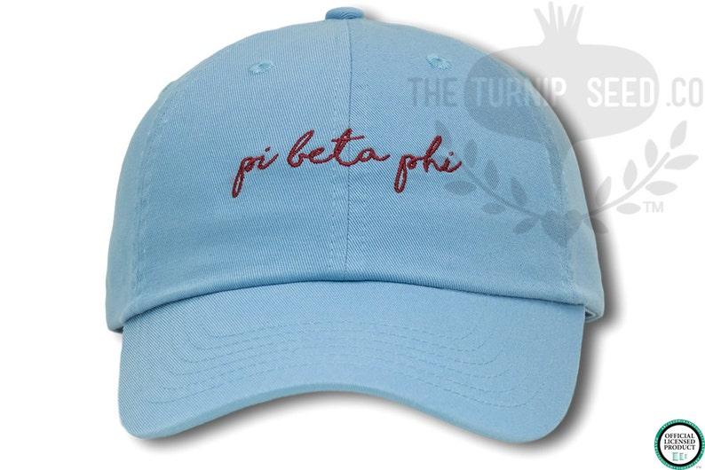 Pi Beta Phi Handwriting Script Sorority Baseball Cap  Custom image 0