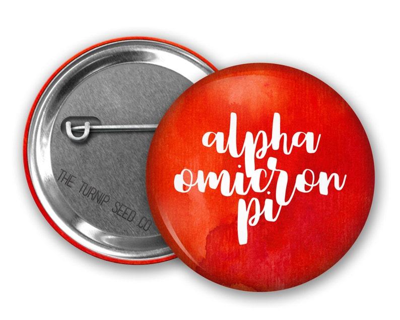 Alpha Omicron Pi Button 2.25  Single or Bulk BD080 image 0