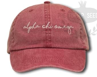 Alpha Chi Omega Handwriting Script Sorority Baseball Cap - Custom Color Hat and Embroidery