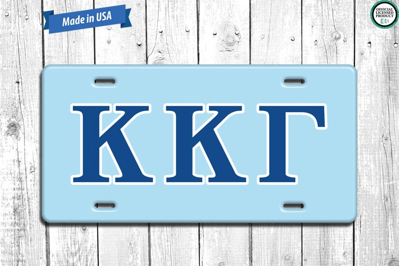 Kappa Kappa Gamma License Plate Monogram  Personalized image 0