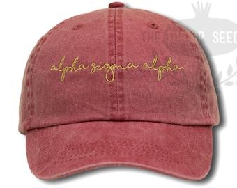 Alpha Sigma Alpha Handwriting Script Sorority Baseball Cap - Custom Color Hat and Embroidery