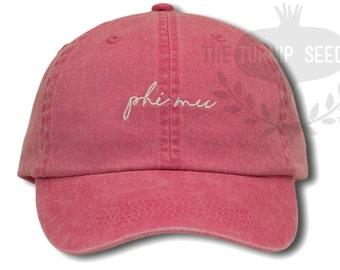 Phi Mu Handwriting Script Sorority Baseball Cap - Custom Color Hat and Embroidery