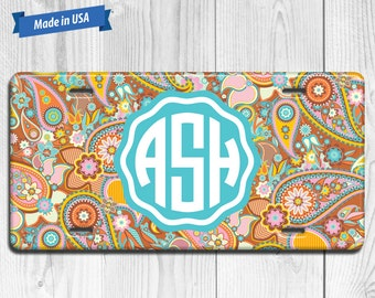 Paisley License Plate Monogram - Personalized Custom Made Auto Tag LP028