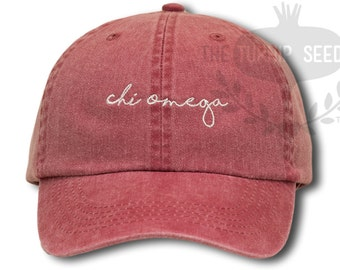 Chi Omega Handwriting Script Sorority Baseball Cap - Custom Color Hat and Embroidery