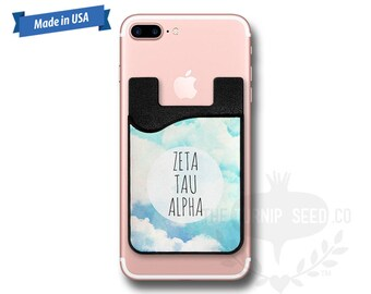 Zeta Tau Alpha Clouds - Water Color - Phone Caddy - Sticker Pocket Wallet - Personalized Cell Phone Pocket PC 1147