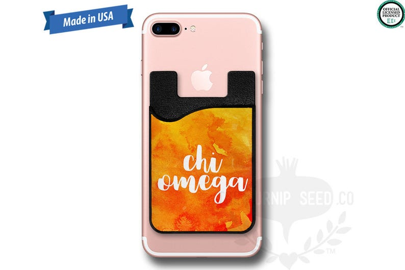 Chi Omega Watercolor  Water Color  Phone Caddy  Sticker image 0