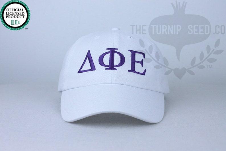 Custom Color Hat and Embroidery. Delta Phi Epsilon Greek Only Sorority Baseball Cap