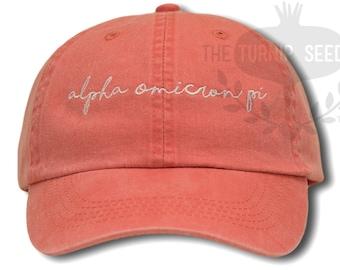 Alpha Omicron Pi Handwriting Script Sorority Baseball Cap - Custom Color Hat and Embroidery