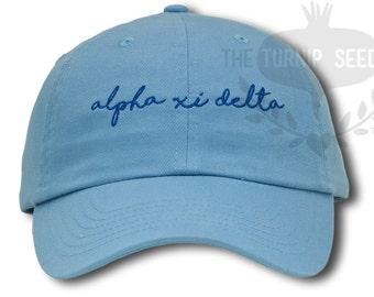 Alpha Xi Delta Handwriting Script Sorority Baseball Cap - Custom Color Hat and Embroidery