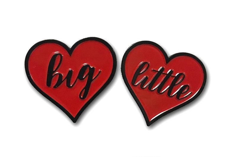 Big  Little Heart Enamal Pins 1  Single or Pair image 0