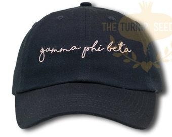 Gamma Phi Beta Handwriting Script Sorority Baseball Cap - Custom Color Hat and Embroidery