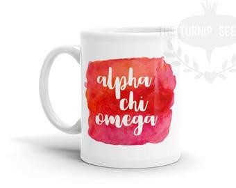 Alpha Chi Omega Watercolor Coffee Mug - Custom Sorority Design MG041