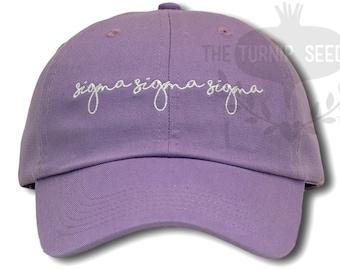 Sigma Sigma Sigma Handwriting Script Sorority Baseball Cap - Custom Color Hat and Embroidery