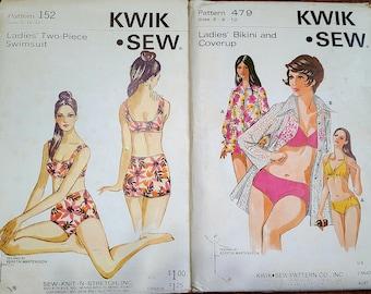 MOD Vintage 1960s Kwik Sew Ladies' Bikini, Coverup (479), or two piece swimsuit (152) sewing pattern. FF, Uncut. Modest, classic swimwear.