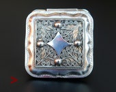 1878 Antique European Dutch square Sterling Silver Vanity Pill Snuff Box 38gr