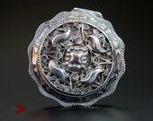 1899 Antique European Dutch round Sterling Silver Vanity Pill Snuff Box 36gr