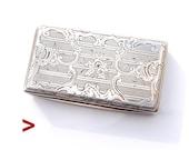 1884 Antique Austrian Hungarian solid 813 Silver Vanity Snuff Pill Box 50gr
