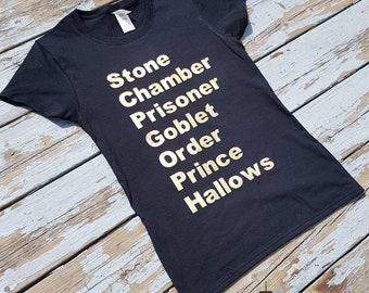5c38b248 Harry Potter Book Title Tshirt