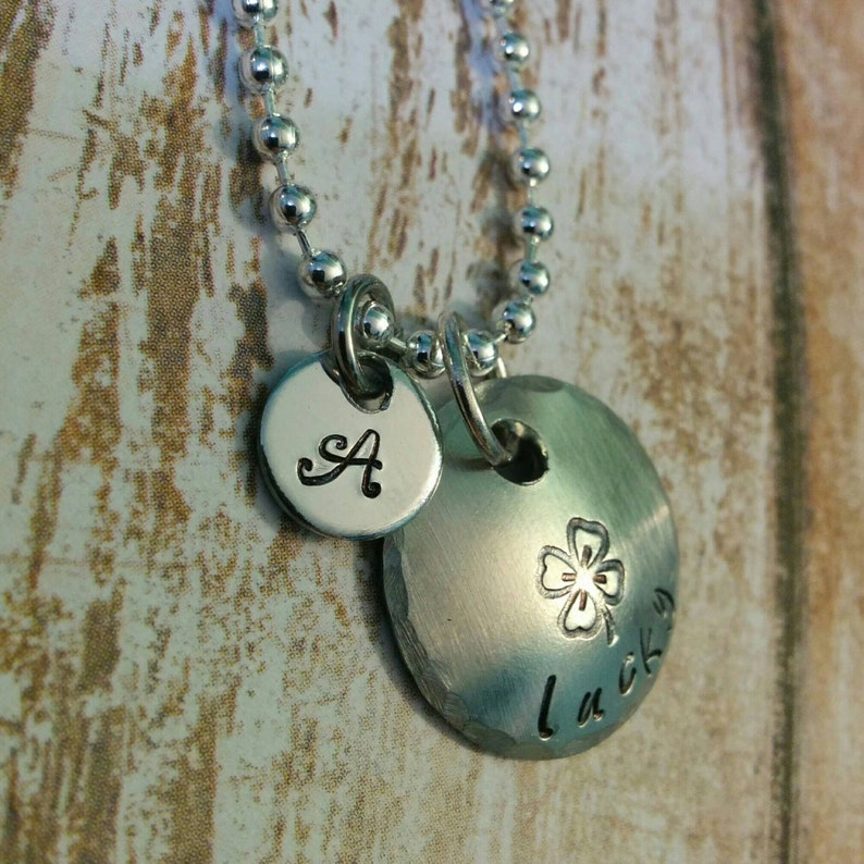 Initial add on hand stamped charm jewelry tag personalised