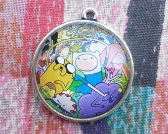 Adventure Time Characters Pendant Necklace Upcycled Comic