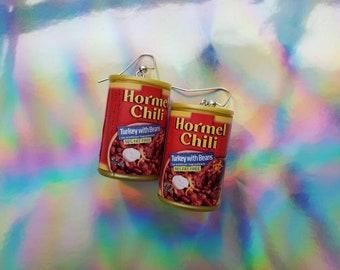 Mini Brands Hormel Chili earrings