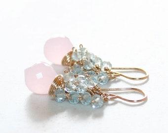 Pale Pink Quartz with Sky Blue Topaz Cluster Earrings, 14K Gold Filled, Multi Gemstone, Lovely Dangle Earrings, Gift for Her
