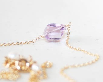 Purple Amethyst Necklace, 14K Gold Filled, February Birthstone, Light Purple Gemstone Necklace, Faceted Amethyst Nugget, Birthstone Jewelry