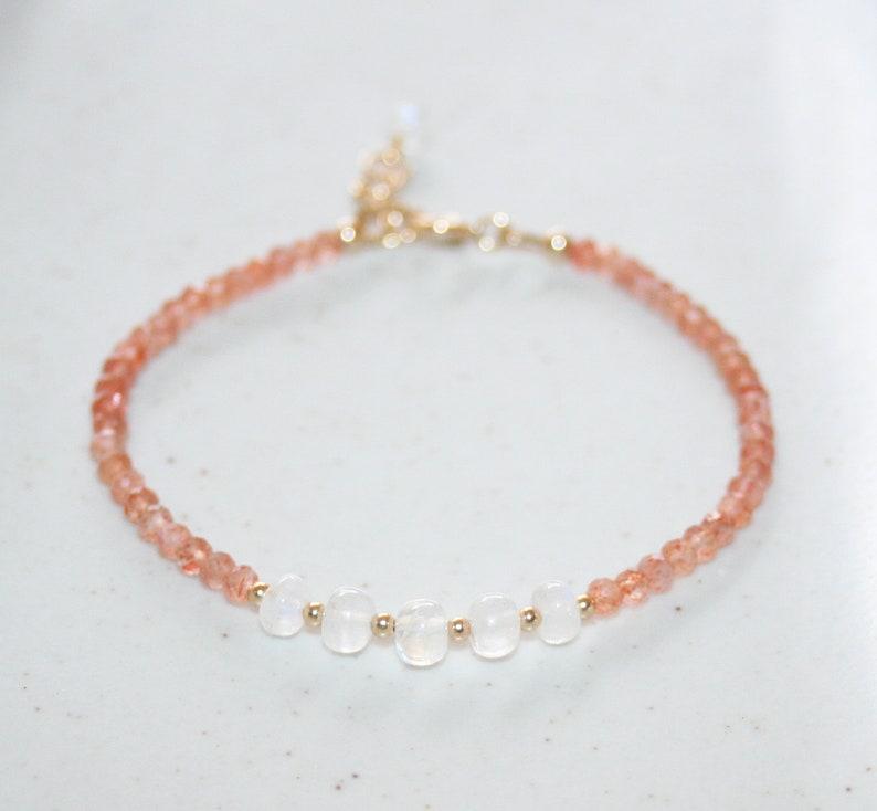June Birthstone Gift for Her Moonstone and Sunstone Bracelet White and Light Orange Small Gemstone Beaded Bracelet 14K Gold Filled
