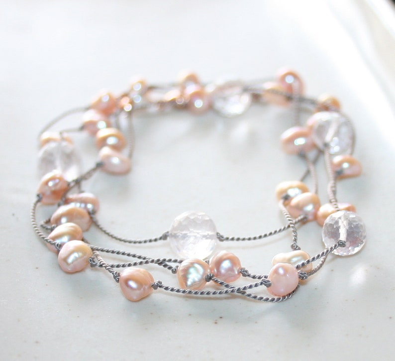 June Birthstone Pink Pearl and Rose Quartz Long Necklace Hand Knotted Onto Grey Silk 14K Rose Gold Filled Clasp Gift for Her