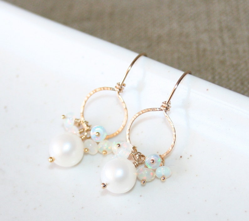 June Birthstone Real Gemstone 14k Gold Filled Gift For Her Ethiopian Opal and White Pearl Dangle Earrings Hammered Circle