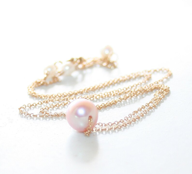 b7839021617c2 Natural Pink Pearl Floating Necklace, 14K Gold Filled Cable Chain, Genuine  Freshwater Pearl, Dainty Single Pearl Necklace, June Birthstone