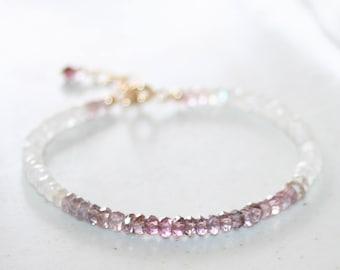 Moonstone and Spinel Beaded Bracelet, 14K Gold Filled, Ombre Purple Pink Spinel, Small Gemstone Bracelet, Stackable, Mother's Day Gift